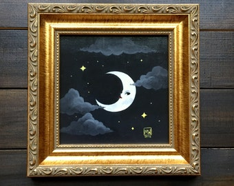 "Original painting, ""Crescent"" acrylic on masonite panel, lunar, moon, night sky, pop surrealism, dreamy, surreal, celestial, weird art,"