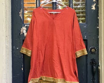 Orange Embellished Indian Style Tunic