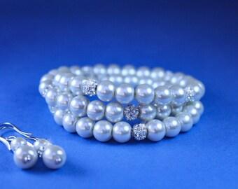 Multistrand pearl bracelet with rhinestones - Bridesmaids gift - Pearl Jewelry set, Crystal , Bridal Bracelet, Pearl earrings, wedding