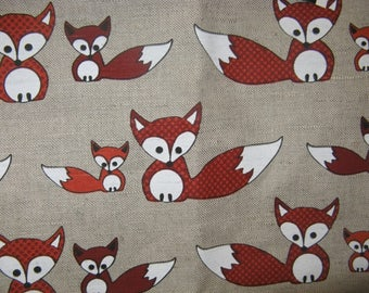 LINEN Curtain panel natural white orange Foxes Animals Kids Room Decor Cafe curtain Kitchen valance , runner , napkins available, great GIFT