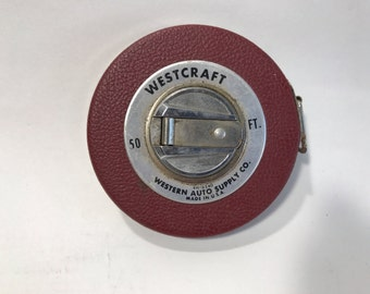 Westcraft 50 Foot Tape Measurer Western Auto Supply USA Leather Metal