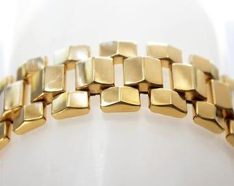 Wide Gold-filled Link Bracelet, vintage chunky gold-filled bracelet, bold GF link bracelet, large geometric link bracelet, heavy GF bracelet