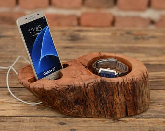 Wood stand for iPhone, Watch Holder, Dock station, iPhone charging stand, Samsung Galaxy S7 dock, Best Gift for Him, Driftwood Phone Stand