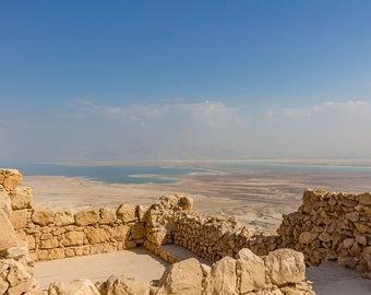 Masada Photography, Dead Sea Photo. Israel Photography, Dead Sea Shoreline, Masada Israel, Israel Wall Decor, Large Canvas Wrap, Holy Land