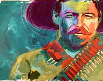 "Pancho Villa 12""x18"" Revolutionary Portrait Giclee Poster Artist Print Wall Art Colorful Abstract Pop Art"
