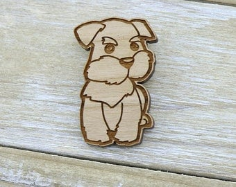 Adorable Laser Cut Wood schnauzer dog Badge/Brooch - Australian Seller