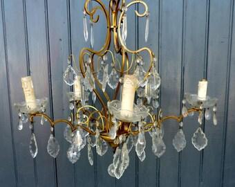 Venetian bronze and crystal glass, 5 lamp birdcage chandelier, ceiling light, pendant light
