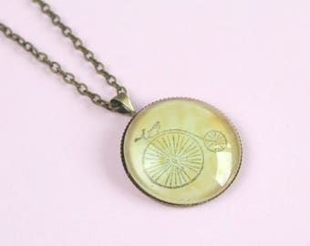 """Penny Farthing Necklace, Vintage Bicycle Necklace, Antique Gold Pendant, 18"""" chain"""