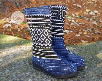 Women's Tribal Vegan Boots, Womens Boots, Tribal Boots, Vegan Boots, Hmong Boots, Hippie Boots, Boho Boots, Blue Boots, Ethnic Boots, Boots