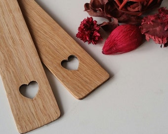 Oak bookmark with heart cut out, hearts, valentines day, valentines gifts, mothers day, mothers day gifts