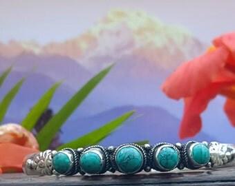 Tibetan Silver Turquoise Bangle Bracelet