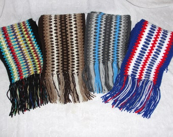 Mens Extra Long Scarf with Fringe~Womans Extra Long Scarf with Fringe~Mens Striped Scarf~Patriots Scarf~Long Crocheted Scarf~Gift for Men