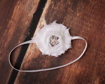 White Baby Headband, White Headbands, White Flower Headband, Headbands White, White Shabby Chic Headband