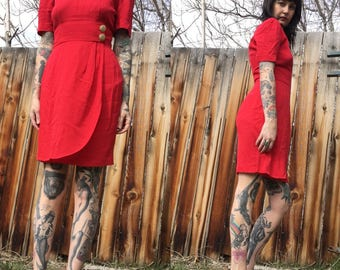 Red Secretary Dress // Little Red Dress // 80s // Size Small