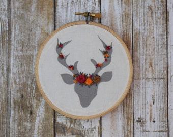 Floral Embroidery, Deer Embroidery, Embroidery Decor, Nursery Decor, Office Decor, Baby Room, Deer, Needlepoint, Gray, Grey, Baby Shower