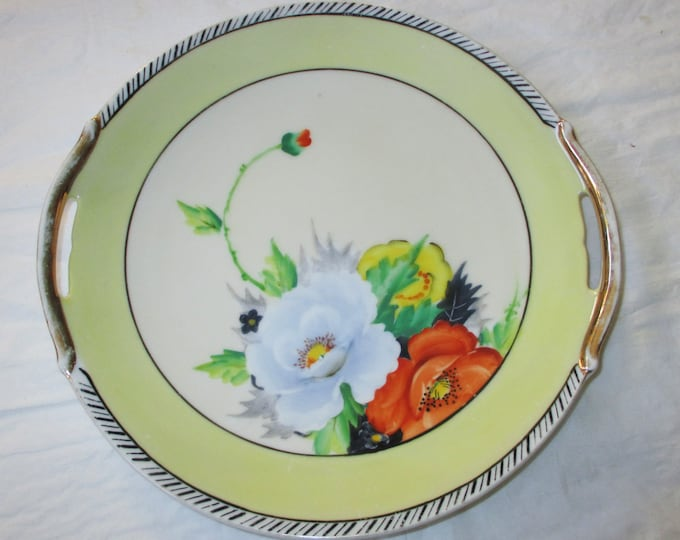 """9.25"""" Serving Plate, Hand-Painted Poppies, 1920s MIJ Noritake Contractor 5-M Cherry Blossom Mark"""