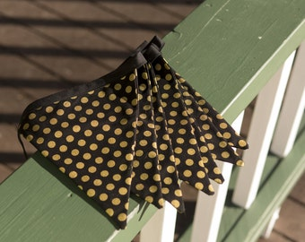 5 Flag Bunting Banner - Black with Gold Dots Fabric