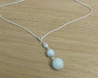 Aquamarine 3 stone drop necklace - courage, mental clarity