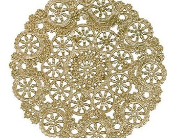 "100 - 8"" GOLD  Metallic Foil Medallion Lace Paper Doilies