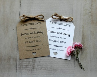 Personalised Vintage Magnet Wedding Save The Date Evening Shabby Chic Rustic Luggage Tags Invitation Cards