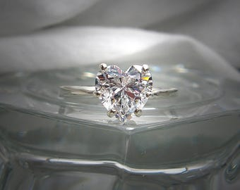 Warm White Precision Faceted Cubic Zirconia 7.5mm Heart Cut .925 Sterling Silver Ring Made to Order