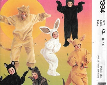 McCall's Costumes MP394/8953 Size 6-7-8 Kids Animal Costumes Bunny, Bear, Cat, Lion and Kangaroo Sewing Pattern 1997 Uncut