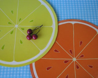 Citrus Counter Savers - Set of 2 - Heavy - Mod Orange Lemon - Retro Kitchen - Vintage 1970's