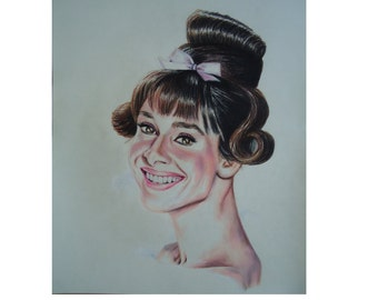Original Audrey Hepburn pencil drawing - Wall art - Colored Pencil art - Original artwork - Audrey Hepburn poster - Original art, Female art