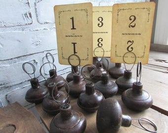 Rustic Table Number Holder Boho Wedding Vintage Primitive Doorknob Repurposed Photo Holder