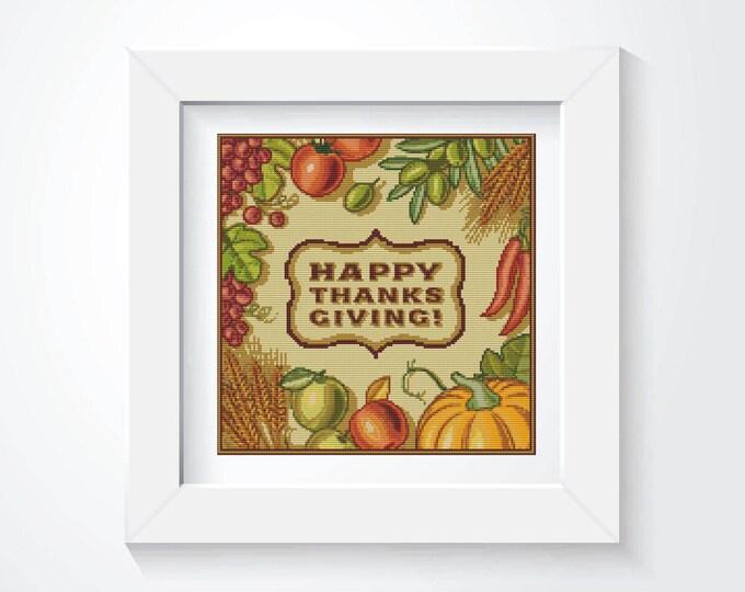 Cross Stitch Pattern PDF, Embroidery Chart, Art Cross Stitch, Holiday Cross Stitch, Happy Thanksgiving (ART001)
