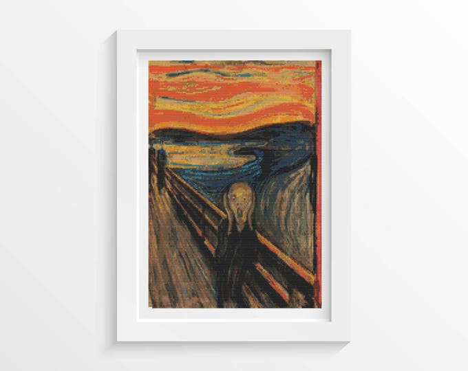 Cross Stitch Pattern PDF, Embroidery Chart, Abstract Art Cross Stitch, The Scream by Edvard Munch (MUNCH01)