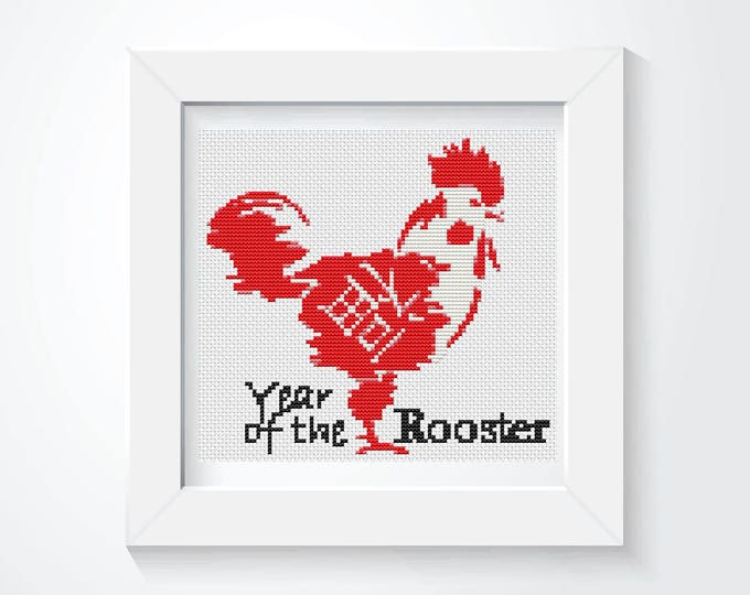 Mini Cross Stitch Kit, Embroidery Kit, Art Cross Stitch, Year of the Rooster (TAS109)