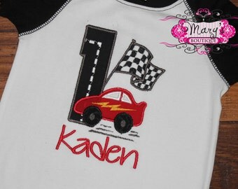 Personalized Race Car Theme Birthday Shirt