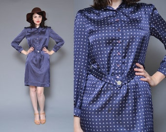 80s Satin Blue Shirt Dress M Navy Blue Tile Printed Long Sleeve Collared Preppy Mod Button Up Belted Midi Work Dress