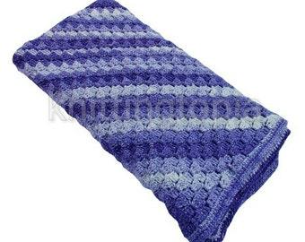 Hand crocheted c2c - corner to corner cot blanket in glitzy purple ombre yarn - stripey blanket - baby cot cover