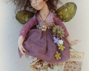 OOAK art doll Dahlia paper clay fully poseable with invisible stand by CreamSoda BJD paperclay artdoll