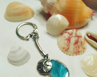 Handmade Blue Sea Glass Keychain with silver sand dollar charm, Yemeya inspired