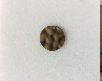 Antique Bronze Hammered Round Charm