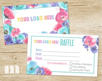 Small Business Raffle Ticket, Raffle Business Card, Floral Design, Pop Up Party Marketing, Giveaway, Approved Fonts/Colors INSTANT DOWNLOAD