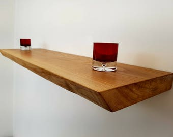 floating shelf. Solid Oak Handmade wall shelves shelving Free P&P Rustic Oak