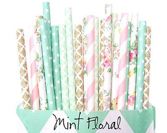 Mint Floral -Pink and Mint *Gold Straws -Wedding Decor -Floral Straws -Pink Straws -Pink Straws -Mint Straws -Paper Straws -Baby shower