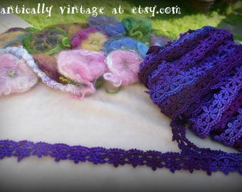 Flowers, Lace, Trim, Hand Dyed, Sewing Supplies, Embellishments, Shabby Chic, Craft Supplies, Destash