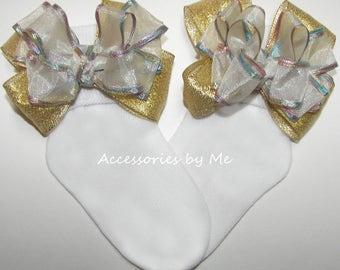 White Gold Socks, Iridescent Rainbow Bow Sock, Baby Girls Toddler Organza Satin Metallic Socks, Princess Unicorn 1st Birthday Party Dress Up