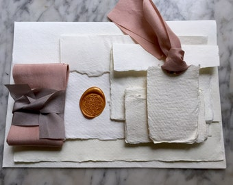 Handmade Paper Sample Pack, Handmade Paper, Deckle Edge, Cotton Rag Paper, Flat Lay Styling Pack, Handmade Paper and Silk Ribbon, Styling