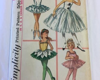 Vintage Simplicity Pattern #6204 Girls Ballet Costume Size 6