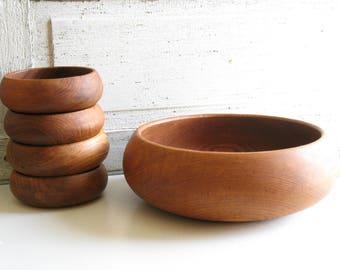 Vintage Goodwood Teak Salad Bowl Set / Wood bowls / Boho 1970s kitchen decor / Wooden dishware