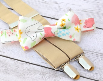 Toddler ring bearer outfit, rustic wedding ring bearer, shabby chic wedding, floral wedding bow tie, boys bow tie and suspenders