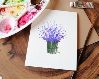 """Set of 5_Original_ hand painted _watercolor_Lavendar bunch blank greeting/ Birthday/ Get well/Sympathy/ Thank you cards 4.5""""x5.5"""""""