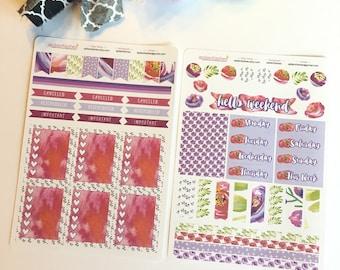 Mini Kit 002 Pink Purple Poppy Sticker Set, Bible Stickers, Planner Stickers, Floral