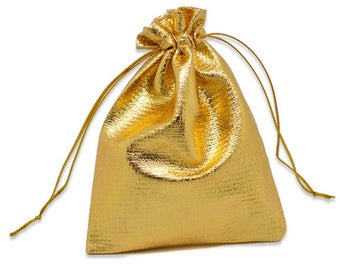 "25 Pieces Gold Cloth Rectangle Party Favor Bag - Size:  4 6/8"" x 3 4/8"" With Drawstring Closure"